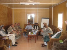 One of my meetings with local Afghans. Sometimes you would get someone representing the Taliban. Their message: we are tired of fighting, but we are not going to surrender. Surrender of course being the only thing I was authorized to communicate to them. Zabul Province, Afghanistan, September 2009.